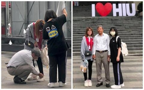 Người cha lặng lẽ cột dây giày cho con gái ngay giữa sân trường, hình ảnh xúc động nhất mùa nhập học là đây!