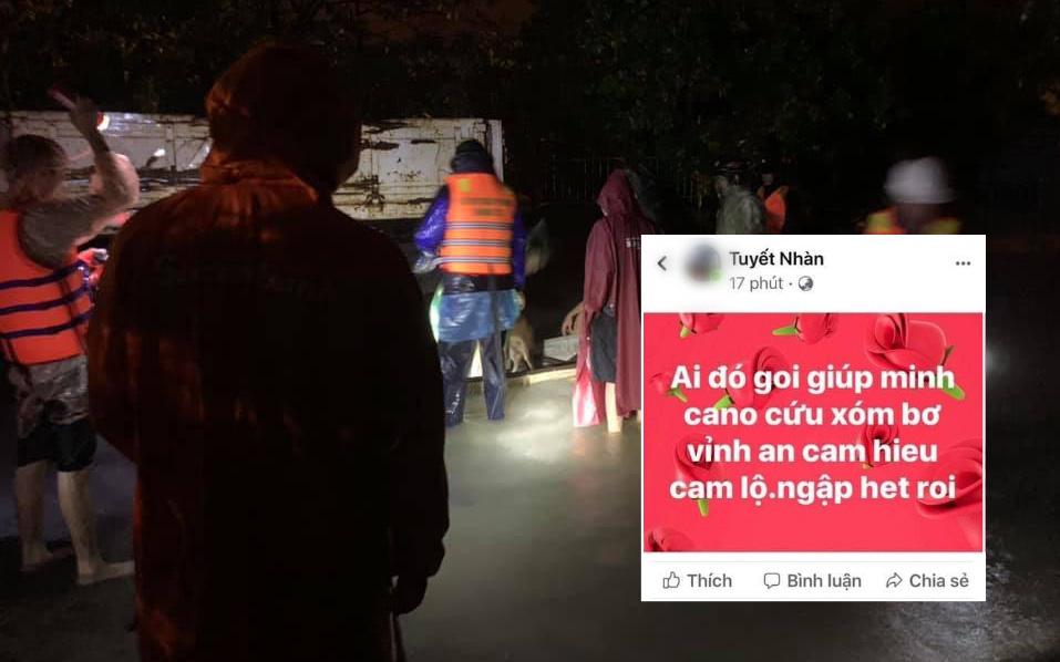 Nhiều người dân Quảng Trị đồng loạt lên mạng kêu cứu khi lũ bất ngờ lên nhanh trong đêm