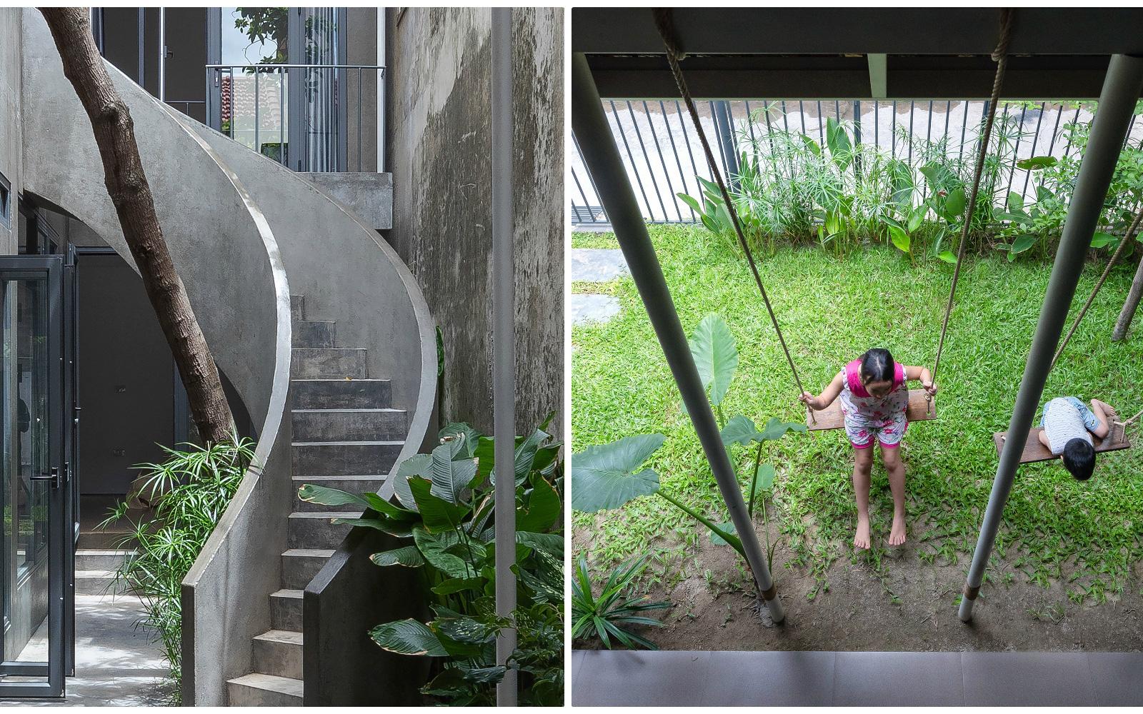 """Bước vào ngôi nhà trong ngõ rộng 3m được phủ xanh bằng cây cối, ai cũng thích thú với chiếc cầu thang cực hợp """"sống ảo"""""""