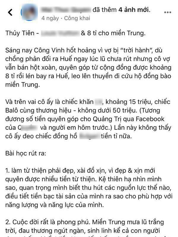 Nữ MC bị chỉ trích mạnh mẽ vì đăng status mỉa mai, bóc giá kém duyên đồ Thuỷ Tiên mặc khi đi cứu trợ miền Trung - ảnh 1