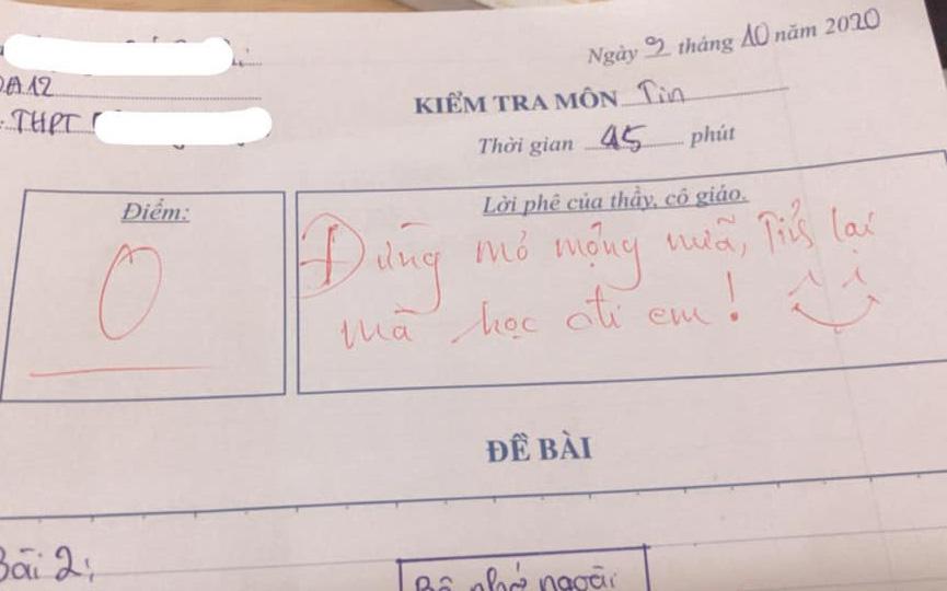 Thầy giáo cho đề kiểm tra cực khó, học trò khóc ròng nhưng lại cười ngay vì loạt lời phê cưng xỉu