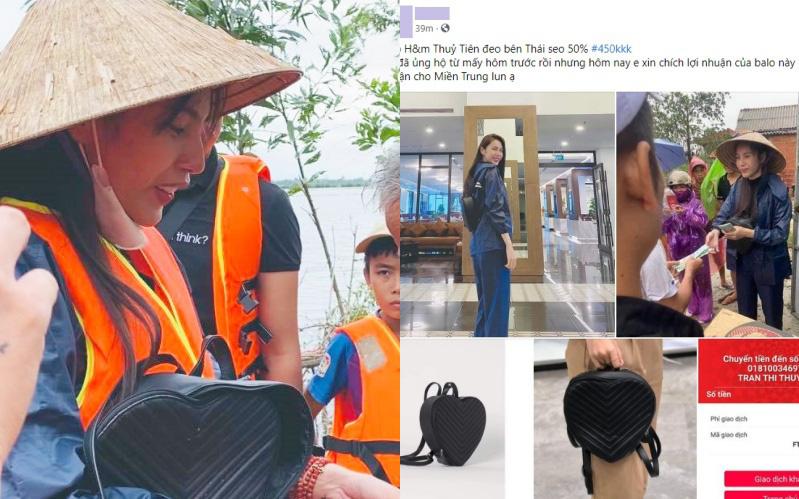 Balo đi cứu trợ miền Trung của Thủy Tiên thành hàng hot, có shop tuyên bố bán được hàng trích luôn lãi làm từ thiện