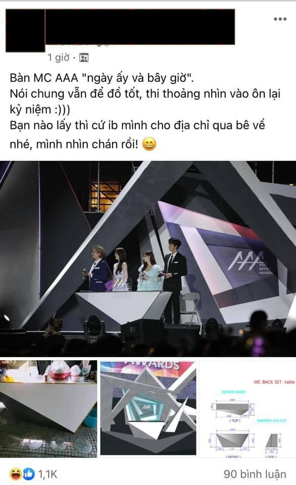 Góc ngã ngửa: Chiếc bàn MC ở AAA 2019 Việt Nam sau 1 năm cũng chỉ dùng để bát đũa? - ảnh 1