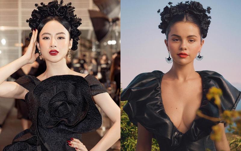 """Lâu lắm mới tái xuất """"chặt chém"""" thảm đỏ nhưng Angela Phương Trinh học tập Selena Gomez thì phải?"""