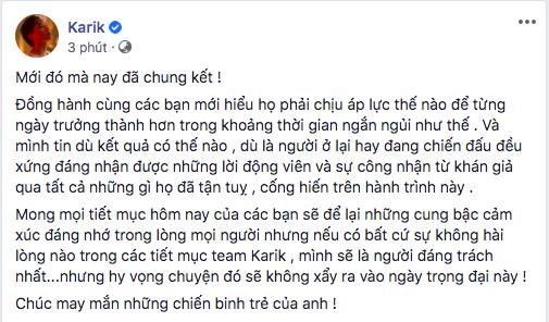 Trước thềm chung kết Rap Việt, HLV Karik trải lòng: Nếu như có bất kỳ sự không hài lòng nào, tôi là người đáng trách nhất - ảnh 1