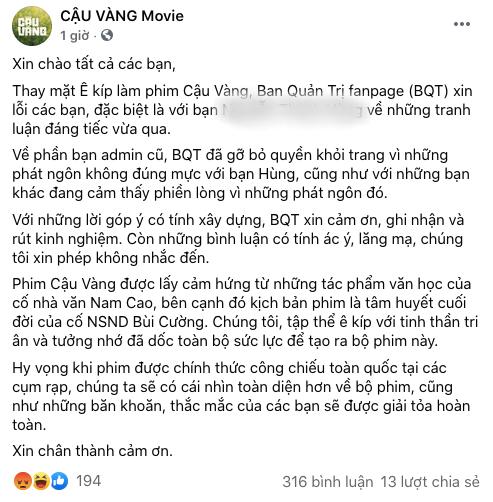 Ekip Cậu Vàng đăng đàn xin lỗi sau phốt admin nói khán giả nghèo hèn dốt nát, netizen nổi đóa: Thái độ lồi lõm, thiếu chân thành - ảnh 3