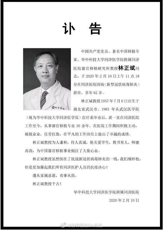 Bác sĩ nổi tiếng Trung Quốc qua đời ở Vũ Hán vì nhiễm virus corona - Ảnh 1.