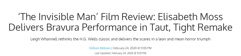 Giới mộ điệu quốc tế hết lời khen ngợi The Invisible Man: Phim kinh dị nổi da gà, nữ chính Elisabeth Moss hay xuất sắc - Ảnh 1.