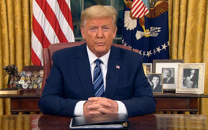 Tổng thống Donald Trump đình chỉ mọi di chuyển giữa Mỹ và châu Âu trong 30 ngày tới