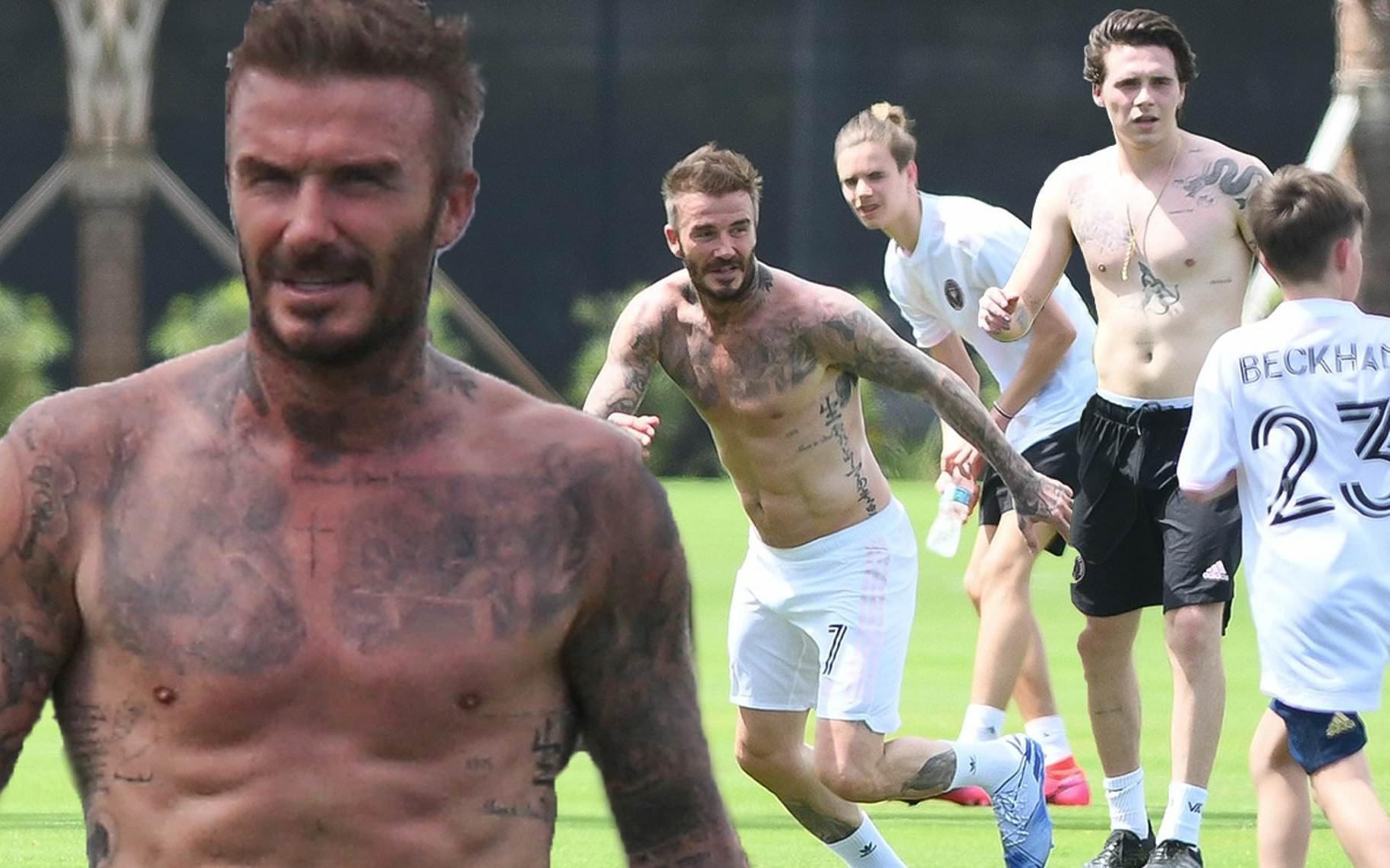 """Beckham khoe body cực chuẩn ở tuổi 45, """"ăn đứt"""" cậu con trai cả Brooklyn"""