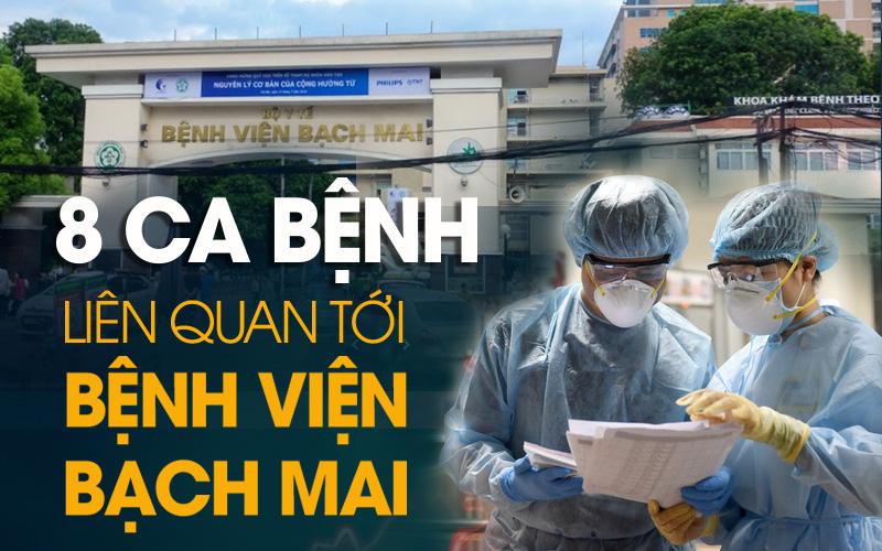 Infographic: 8 ca mắc Covid-19 liên quan đến Bệnh viện Bạch Mai