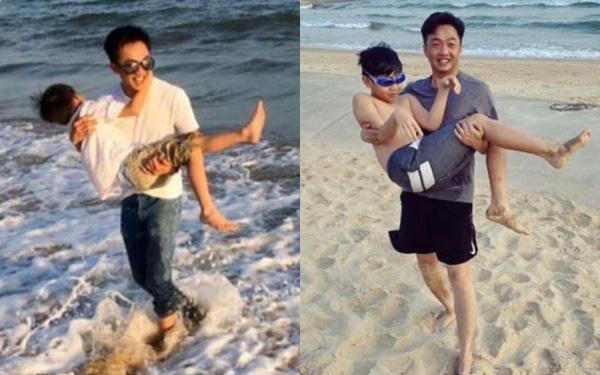 """Khoảnh khắc Subeo nằm trọn trong vòng tay Cường Đô La sau 4 năm: """"Lớn nhanh như thổi"""" nhưng vẫn là cậu bé bên bố!"""
