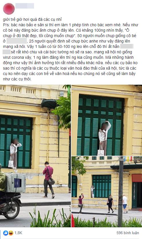 Cô gái trẻ trèo lên cửa sổ nhà cổ Hà Nội để sống ảo, dân tình người bênh kẻ chê nhưng nhận gạch nhiều nhất lại là chủ nhân bức ảnh chụp trộm - Ảnh 1.