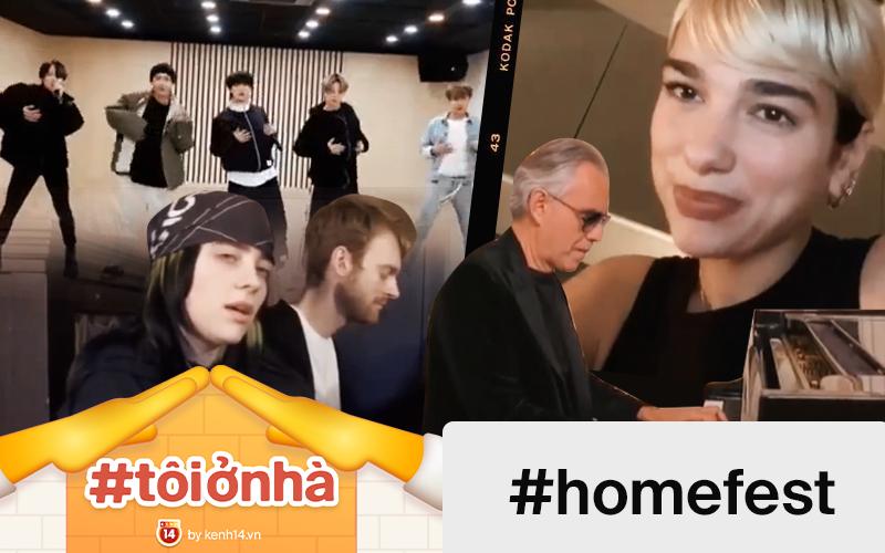 """#HomeFest tưng bừng: BTS diễn trong phòng tập, Billie Eilish ôm cún cưng đàn hát, Dua Lipa rủ cả """"hội chị em"""" và màn trình diễn cảm động của danh ca khiếm thị"""