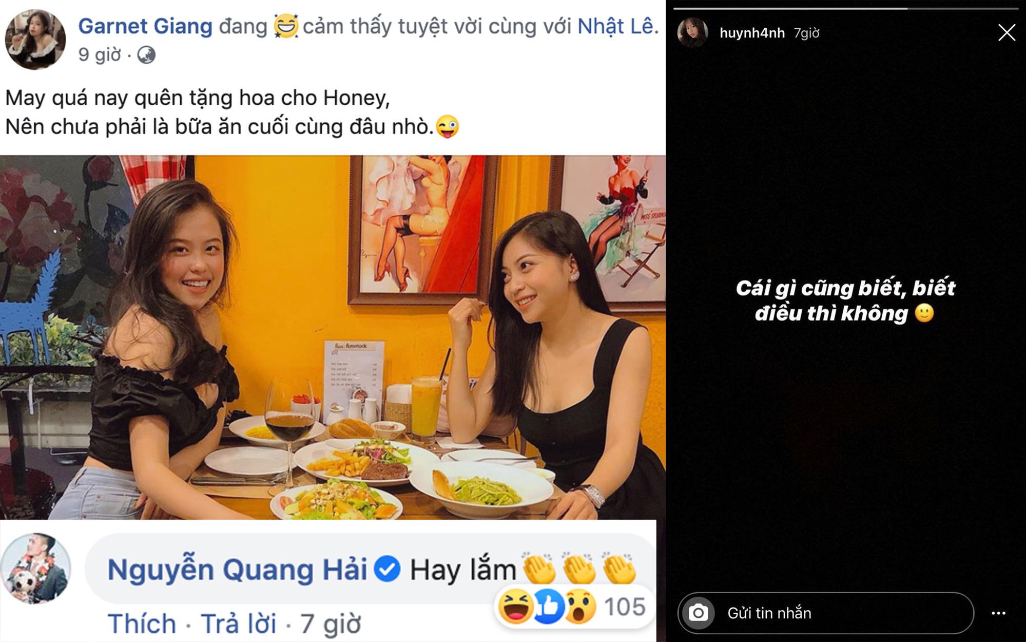 """Quang Hải bình luận trong bài viết tag tên Nhật Lê, Huỳnh Anh liền đăng status ẩn ý: """"Cái gì cũng biết, biết điều thì không"""""""