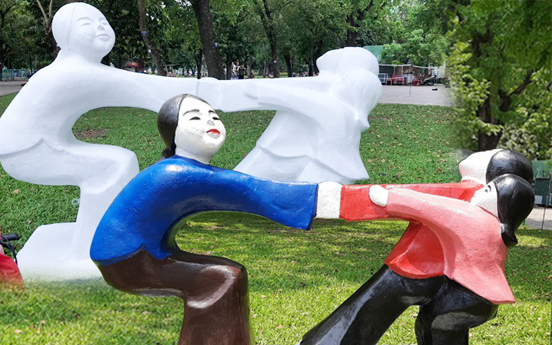 """Những bức tượng 60 năm tuổi ở Công viên Thống Nhất bị sơn màu loè loẹt: """"Đón nhận ý kiến của giới mỹ thuật, chúng tôi sẽ trả lại nguyên trạng"""""""