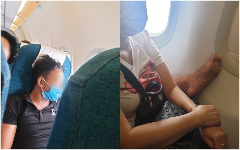 Ngán ngẩm hình ảnh người đàn ông ngồi tư thế kém duyên trên máy bay, gác nguyên bàn chân lên ghế trước mặc người khác khó chịu