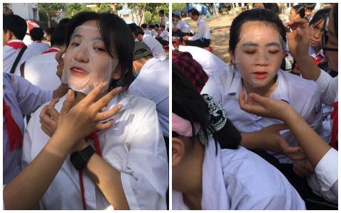 Loạt ảnh hài hước dàn nữ sinh đắp mặt nạ xả stress ngay giữa sân trường, thần thái không phải dạng vừa đâu