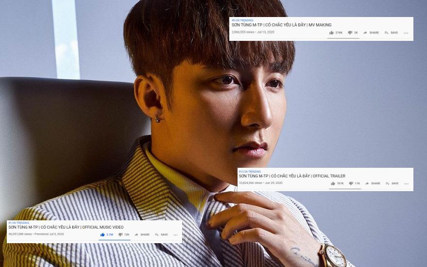 """Không chỉ MV giữ #1, Sơn Tùng M-TP còn """"rồng rắn lên mây"""" 3 video khác của """"Có Chắc Yêu Là Đây"""" đánh chiếm top trending Việt Nam"""