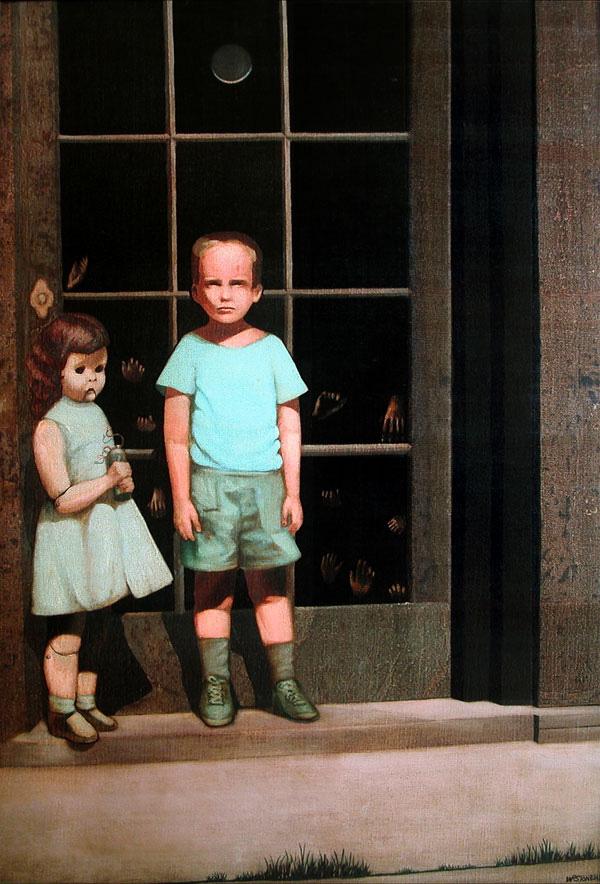 Bức tranh vẽ 2 em bé dựa trên ảnh thật gây rùng mình hàng chục năm qua bởi những bàn tay kỳ quái và liên quan đến 3 cái chết - ảnh 1
