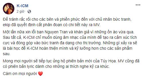 K-ICM phải sửa lại MV sau loạt lùm xùm, Hoa hậu Tường Linh khẳng định sẽ không ai dám đóng MV với Khánh nữa vì fan K-ICM quá toxic? - ảnh 1