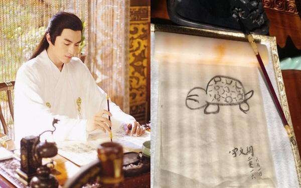 """Cười mệt với hậu trường cảnh viết thư pháp của dàn sao Cbiz: """"Trùm vẽ bậy"""" gọi tên Lâm Canh Tân!"""