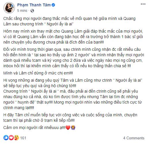 Nữ thần thời tiết Thanh Tâm xác nhận về mối quan hệ hậu Người ấy là ai: Mình và Quang Lâm chỉ dừng ở mức chị em - ảnh 2