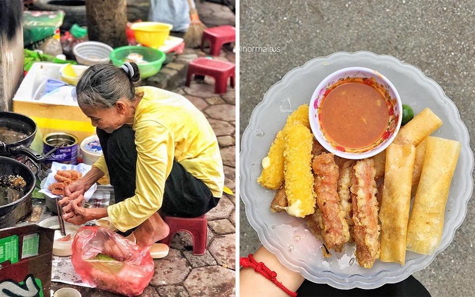 Không quán, không bàn, không bát đũa nhưng hàng nem chua rán bà cụ vẫn gắn liền với bao thế hệ người Hà Nội gần 2 thập kỷ nay