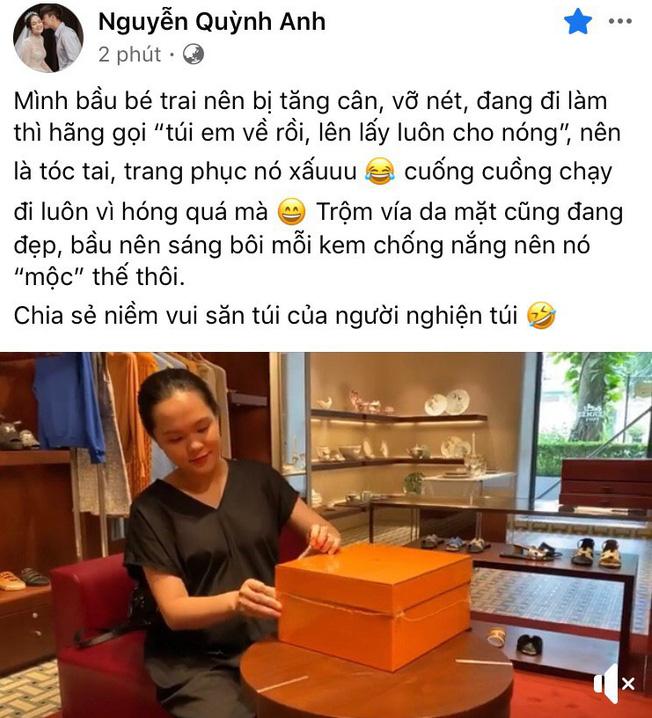 Quỳnh Anh (vợ Duy Mạnh) khoe mặt mộc khi đập hộp túi hàng hiệu trăm triệu, chị gái gây chú ý với câu hỏi: Yên tâm đi đẻ chưa - ảnh 1