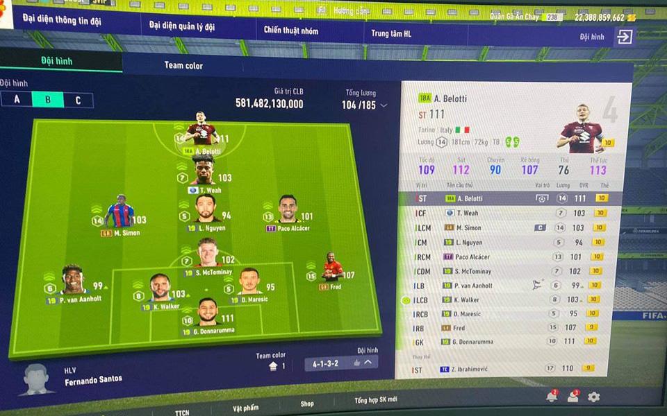 """FIFA Online 4: Xuất hiện đội hình +10 siêu khủng tại server Việt Nam, nhưng game thủ bảo nhau: """"Đá thua đội hình cùi bắp"""""""