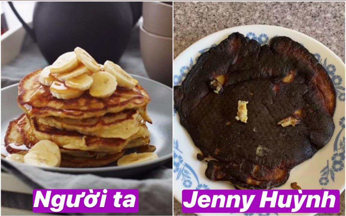 Jenny Huỳnh trổ tài nấu nướng: Úi zùi ui! Pancake chuối thành pancake bóng đêm luôn rồi nè!
