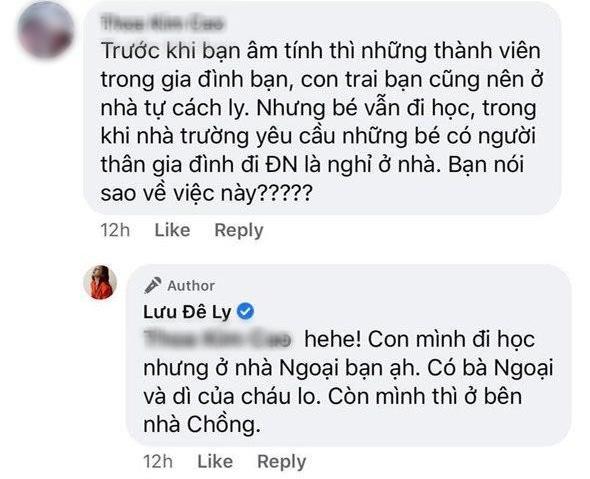 Lưu Đê Ly lên tiếng khi bị tố cho con đi Đà Nẵng chung nhưng vẫn cho bé đi học bình thường, không cách ly 14 ngày - ảnh 2