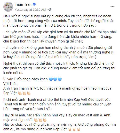Trấn Thành có động thái mới nhất trước những tranh cãi xoanh quanh việc làm MC Rap Việt - ảnh 3
