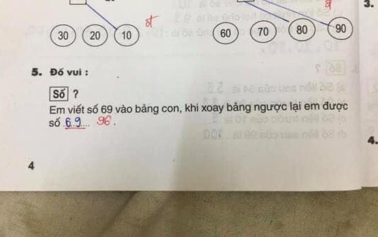 """Bài Toán: """"Viết số 69 ra bảng, xoay ngược lại được số bao nhiêu?"""", học sinh nói 69, cô giáo bảo 96"""
