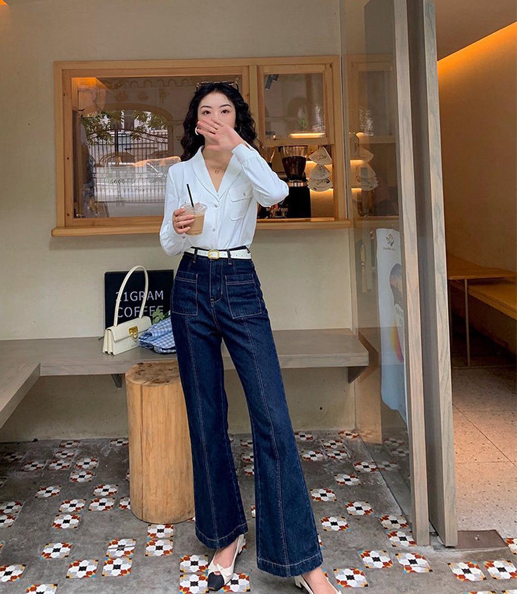 Mùa thu diện quần jeans ống loe chanh sả biết mấy, lại hack chân dài không tậu hơi phí - Ảnh 5.