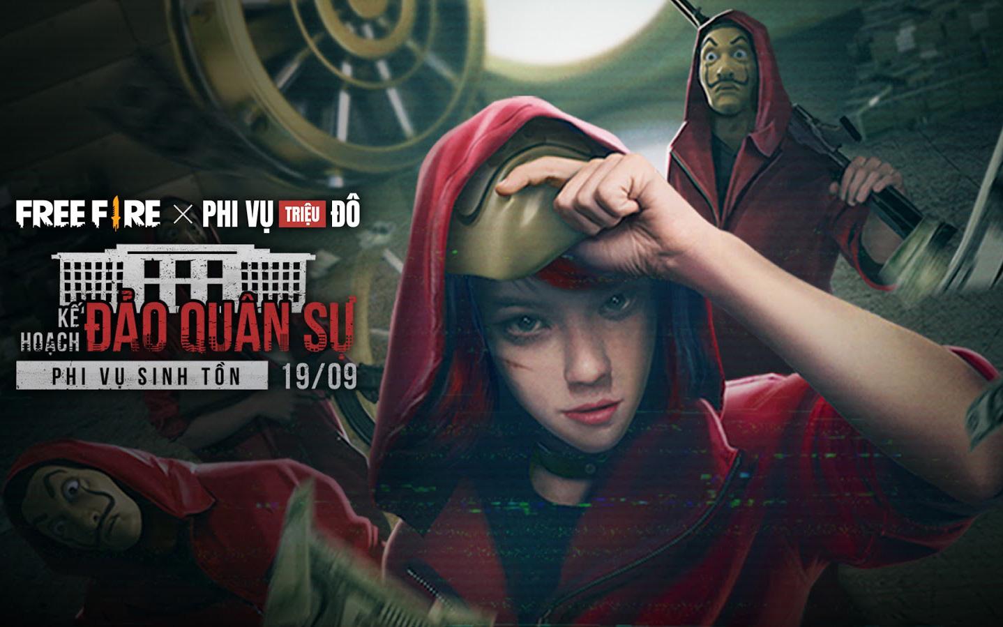 Free Fire bất ngờ công bố hợp tác cùng phim Phi Vụ Triệu Đô, game thủ ngồi không cũng nhận được hàng loạt vật phẩm miễn phí