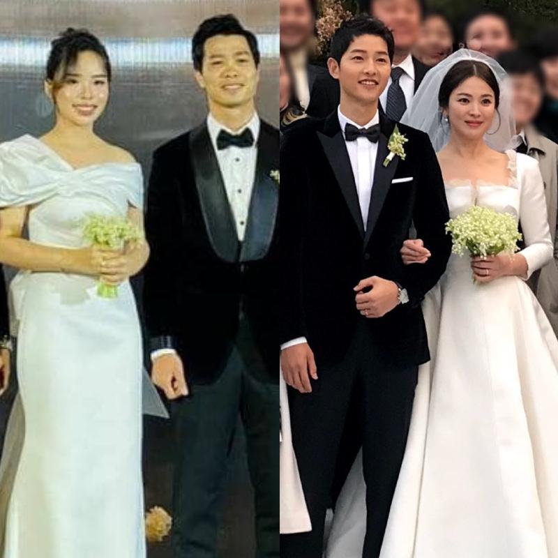 Vợ Công Phượng mặc váy cưới trơn nhẹ nhàng, cầm bó hoa cưới khiến ai cũng liên tưởng ngay tới Song Hye Kyo - Ảnh 3.