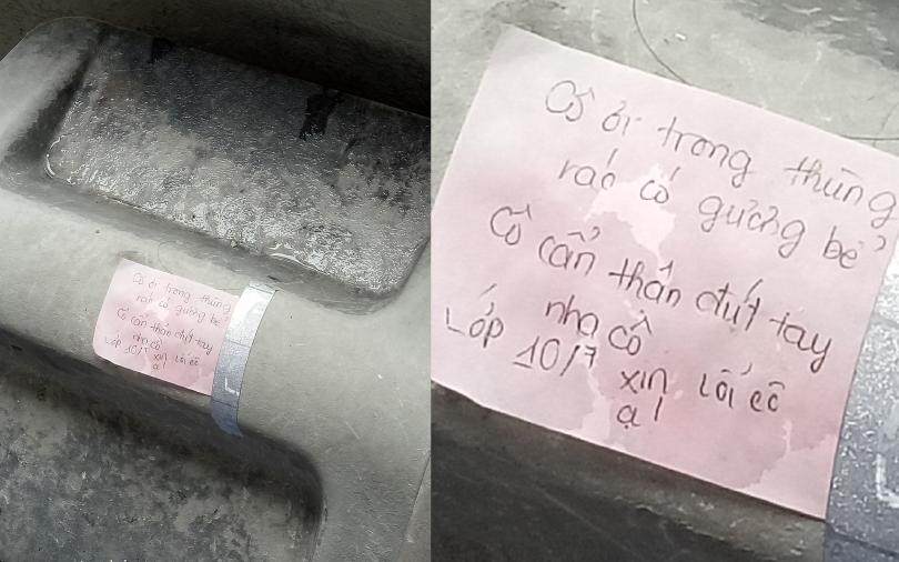Mảnh giấy đáng yêu trên nắp thùng rác