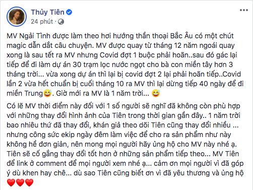 Trước tranh cãi về MV mới, Thuỷ Tiên lên tiếng: MV đã được quay từ 2019, sẽ cố gắng thay đổi ở sản phẩm tiếp theo - Ảnh 1.
