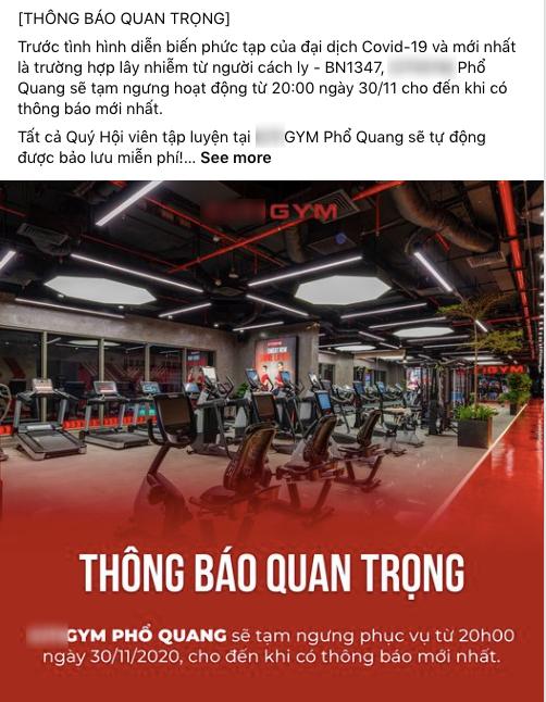TP.HCM: Một phòng gym ở quận Phú Nhuận thông báo tạm ngưng hoạt động sau khi xuất hiện ca bệnh 1347 - ảnh 1