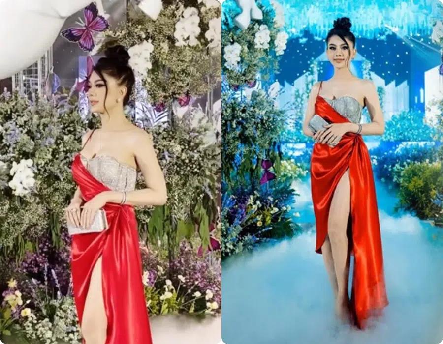 Đi đám cưới tình cũ Quý Bình, Lâm Khánh Chi thay tới 2 bộ váy cắt khoét hiểm hóc, chỉ vì đôi cao gót khủng nhưng xém chút thì vồ ếch - Ảnh 6.