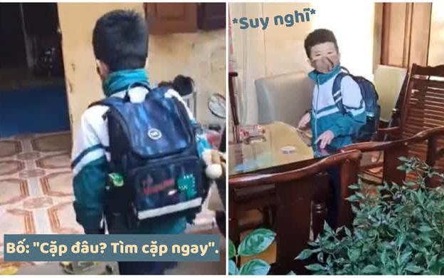Clip đãng trí hài nhất năm: Đến giờ đi học, cậu bé hốt hoảng tìm cặp sách dù đang đeo trên vai khiến ai xem cũng phải ôm bụng cười
