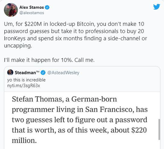 Quên mật khẩu, lập trình viên này chỉ còn 2 cơ hội để truy cập ví Bitcoin trị giá 240 triệu USD trước khi mất chúng vĩnh viễn - ảnh 1