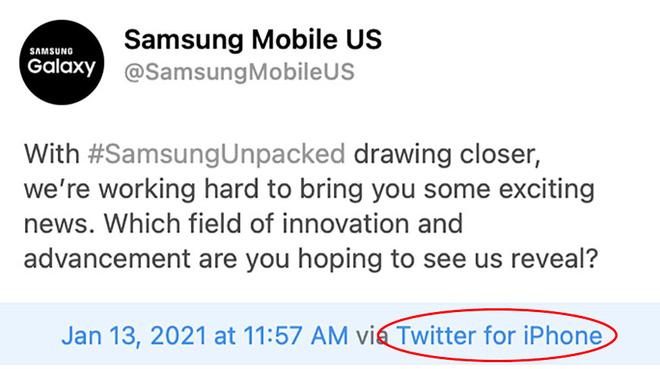 Samsung lại dùng iPhone để đăng quảng cáo Galaxy Unpacked trên Twitter: Chiêu trò hay lầm lỡ? - ảnh 1