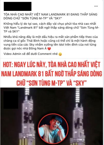 Xôn xao dòng chữ Sơn Tùng M-TP và Sky xuất hiện trên Landmark 81: Là Sky chơi lớn, màn comeback hay Sky Social sắp ra mắt? - ảnh 2