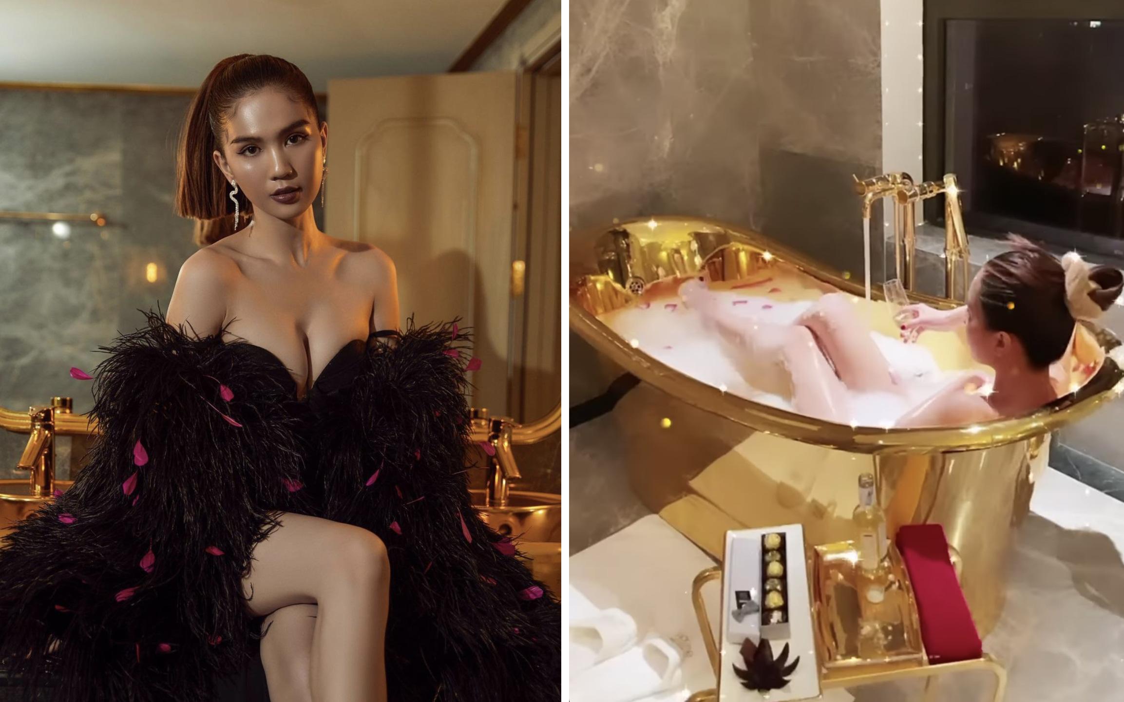 Ngọc Trinh bất ngờ xuất hiện trong khách sạn dát vàng đầy sang chảnh nhưng ấn tượng nhất vẫn là màn khoe dáng quyến rũ