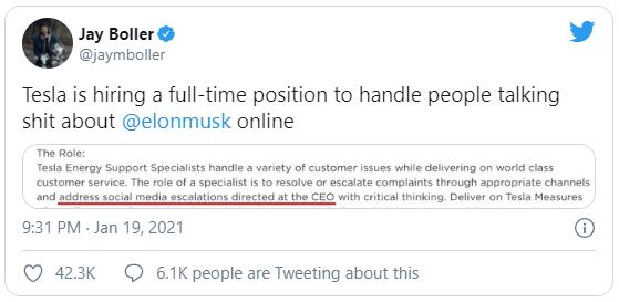 Sợ Elon Musk sa đà vào cãi nhau trên mạng, Tesla tuyển cả chuyên viên bảo vệ ông trên Twitter - ảnh 2