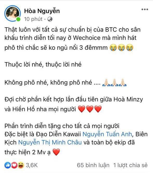 Hoà Minzy háo hức chờ đến màn kết hợp lần đầu với Hiền Hồ tại WCA 2020, khẳng định: Lỡ hát phô thì ngủ không nổi 3 đêm - ảnh 2