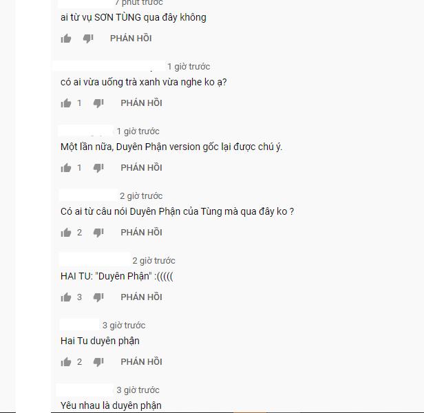 Phía dưới bài hát Duyên Phận của Như Quỳnh tràn ngập bình luận của netizen: Sơn Tùng M-TP và Hai Tu Duyên Phận đã đưa tôi đến đây! - ảnh 1