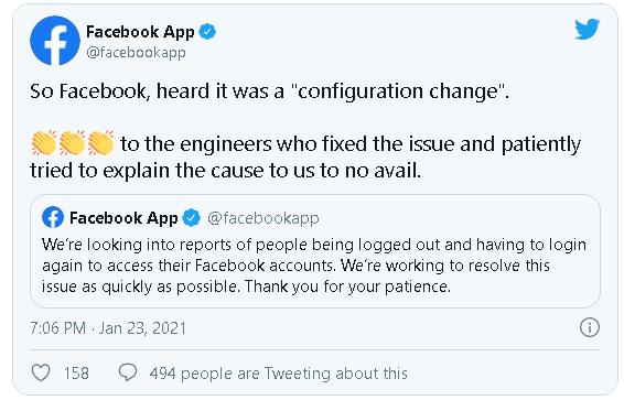 Facebook trả lời trước sự cố hàng loạt người dùng bị đăng xuất tài khoản - ảnh 1